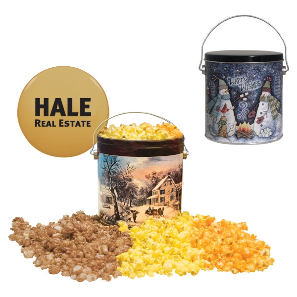 Food Gifts Superstore - One Gallon Popcorn Tin With 3 Flavors. Butter, Cheese, Caramel Popcorn In Tin Photo