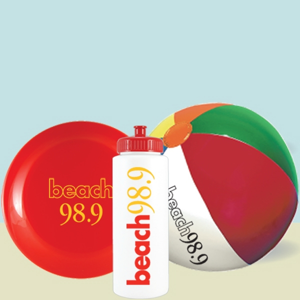 "Bottle Beach Kit - 32 Oz Water Bottle, 9"" Beach Ball & 9"" Flying Disc In Mesh Bag Photo"