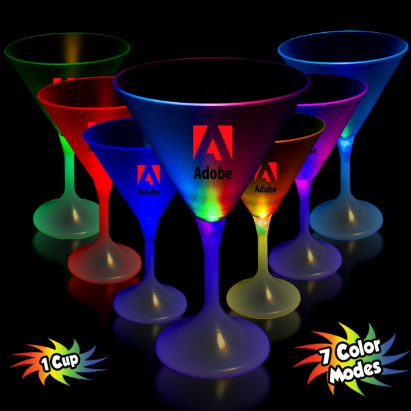 7 1/4 oz. LED Lighted Frosted Martini Glass with White Base