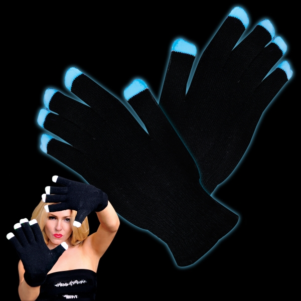 Soft black light show gloves