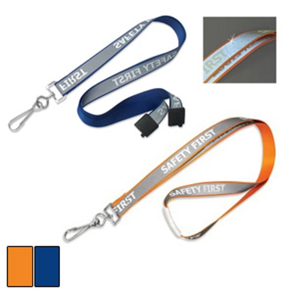 "Preprinted. 5/8"" ""safety First"" Glow-in-the-dark Breakaway Reflective Lanyard Photo"