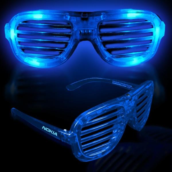 Blue Light Up Glow LED Slotted Glasses