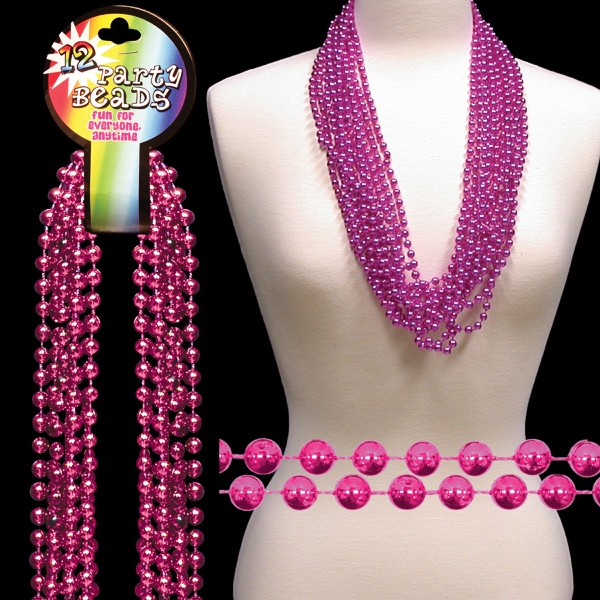 "Hot Pink Metallic Round Beaded Necklace, 33"" (7mm), Blank Photo"