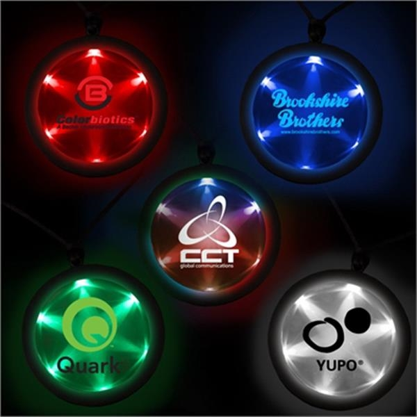 "2 1/4"" Fusion Light Up LED Badge with Necklace"