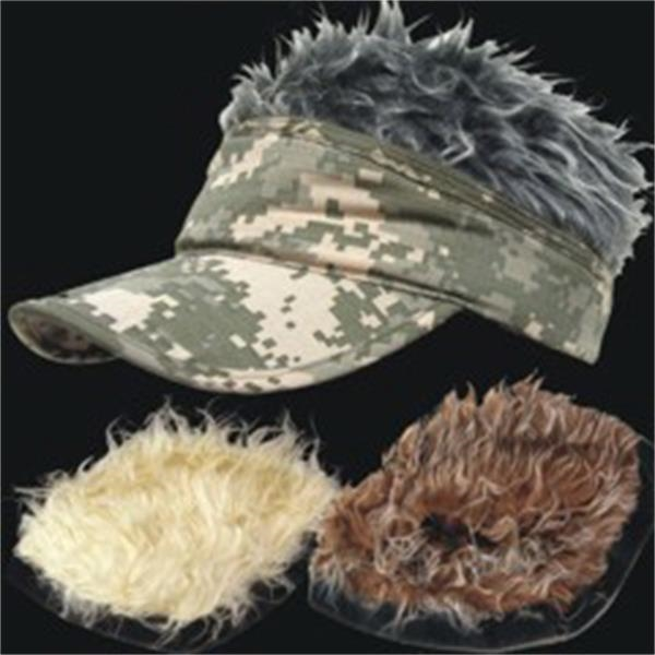 Wacky Visors (r) - Camouflage Visor Hat With 3 Different Colored Hair Pieces, Blank Photo