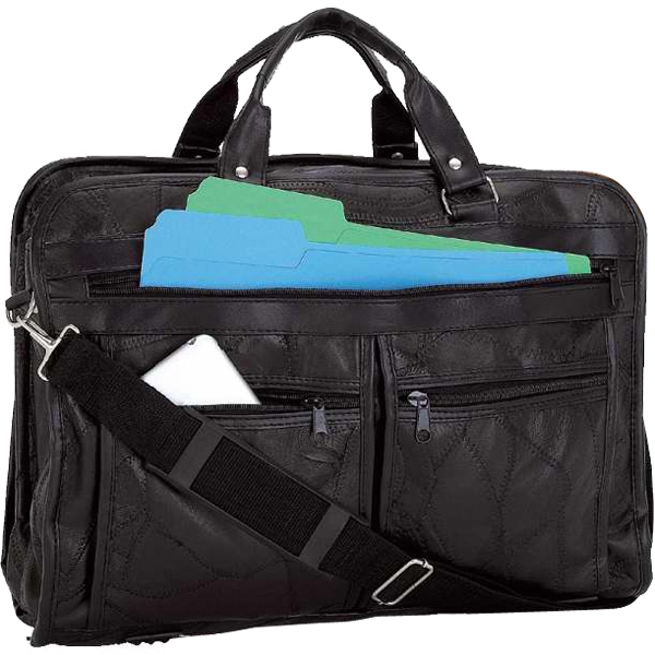 Brand Italian Mosaic (TM) Design Genuine Leather Briefcase
