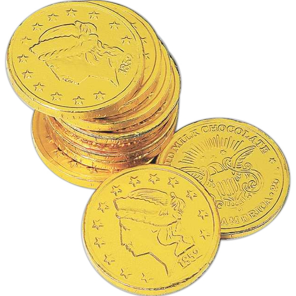 Dollar Size Chocolate Coin Wrapped In Gold Foil With Liberty/us Emblem Design. Blank Photo