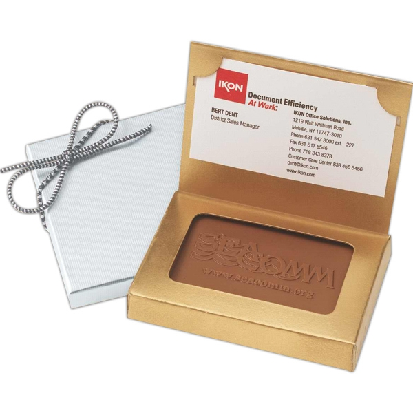 Custom Chocolate Rectangle Cookies Packed In A Gold Or Silver Business Card Holder Photo