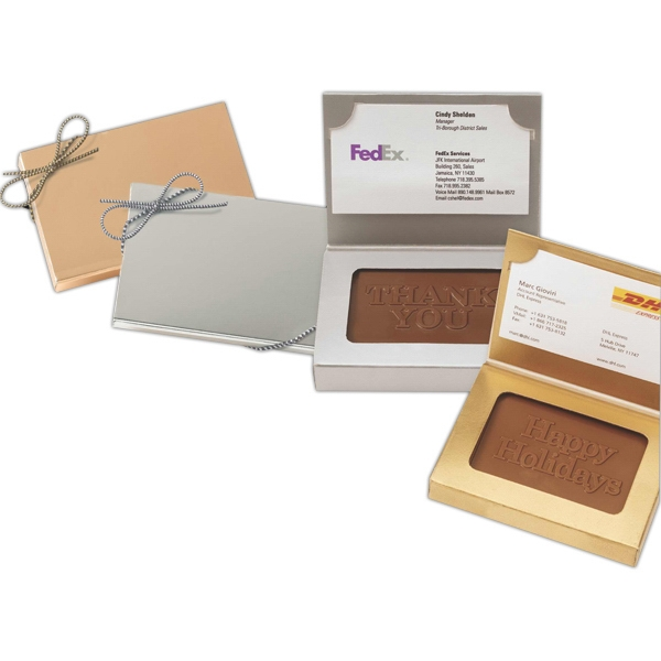 Custom Chocolate Rectangle Packed Into A Gold Or Silver Business Card Holder Box Photo