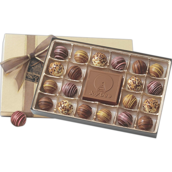 20 Truffles And Solid Chocolate Centerpiece In Gift Box With Matching Ribbon Photo
