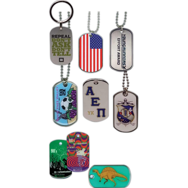 "Die Struck Iron/aluminum - Dog Tag With Chain, 2 1/8"" X 1 1/8"" Tag With 24"" Ball Chain Photo"