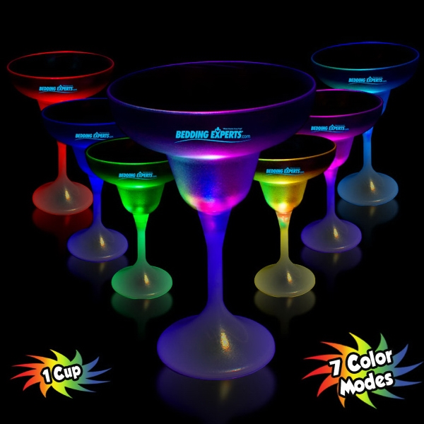 10 oz. LED Lighted Frosted Margarita Glass with White Base