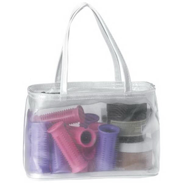 White Cosmetic Zipper Tote. Made Using Clear Vinyl, Fine Mesh And White Pvc Paper Photo
