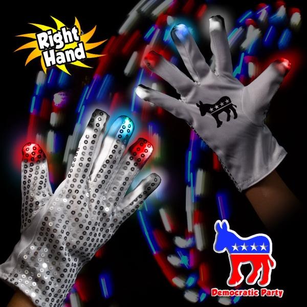 Democratic LED Light Up Glow Sequin Glove