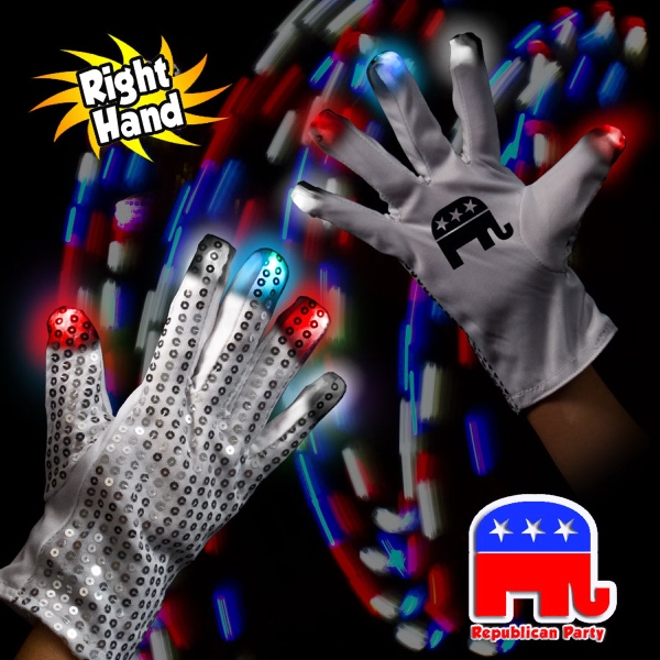 Republican LED Light Up Glow Sequin Glove