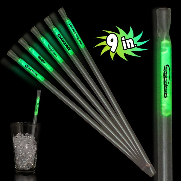 "Green 9"" Glow Light Up Motion Straw"