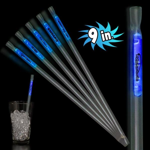"Blue 9"" Glow Light Up Motion Straw"