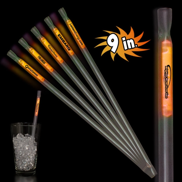 "Orange 9"" Light Up Glow Motion Straw"