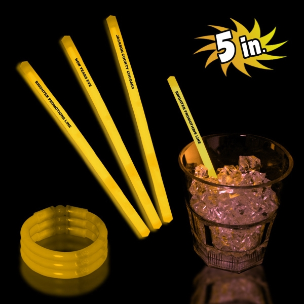 "Yellow 5"" Single Color Light Up Glow Swizzle Stick"