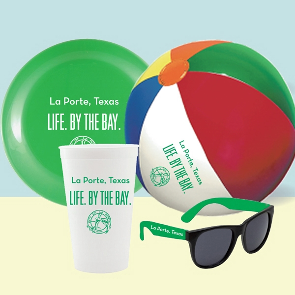 "22 Oz. Cup, 9"" Beach Ball, 9"" Flying Disc & Sunglasses In Mesh Bag Photo"