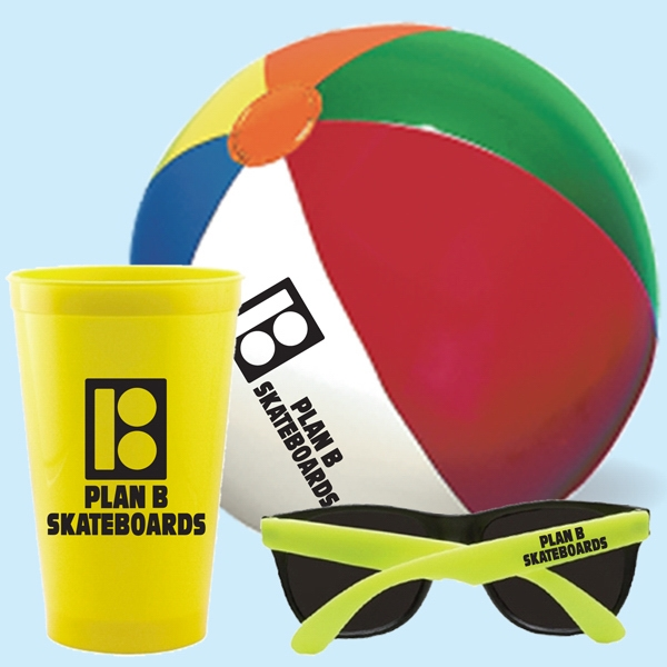 "22 Oz. Stadium Cup, 9"" Beach Ball & Sunglasses Photo"