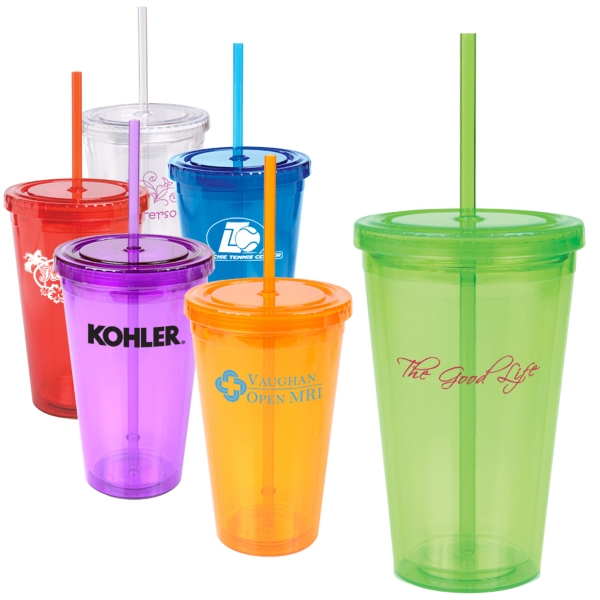 16 Oz Double Wall Cool Acrylic Tumbler For Cold Beverages Photo