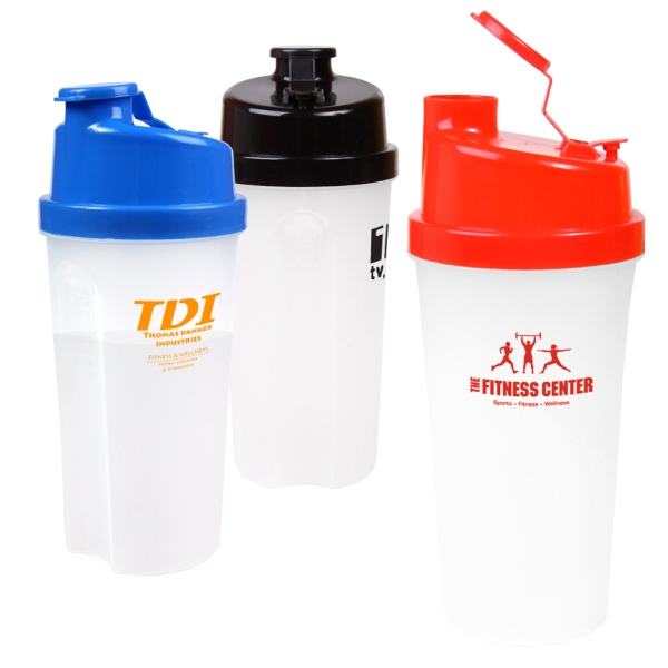 20 Oz Plastic Fitness Shaker With Measurements Photo
