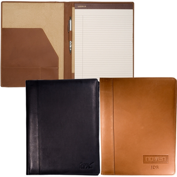 "Harrison Leeman New York Collection - Large (includes 8 1/2"" X 11"" Ruled Notepad) - Sueded Full Grain Leather Business Portfolio Photo"