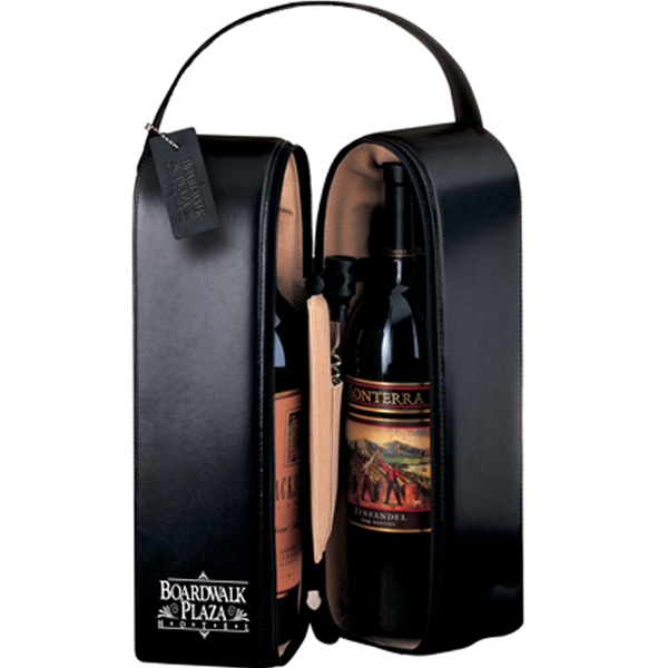 Upper West Side Leeman New York - Double Bottle Carrier - Black Cowhide Leather Wine Case Photo