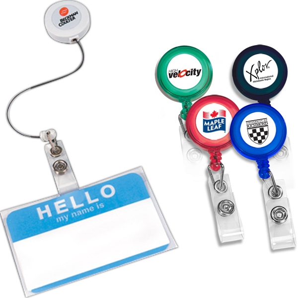 "Retract-a-badge - Round - Retractable Badge Holder With 30"" Long Auto-retract Cord Photo"