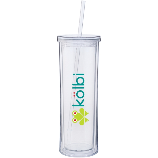 Clear - 16 Oz. Acrylic Tumbler With Threaded Lid And Straw Photo