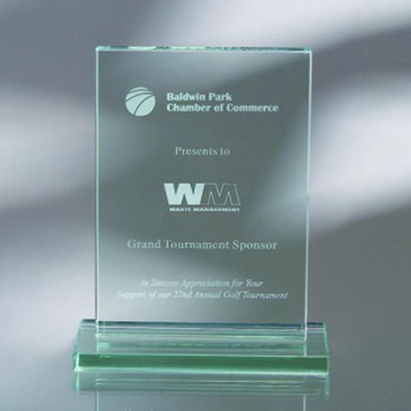 "Award-Vertical Plaque w/ Base 4""w x 6""h x 1/2""d"