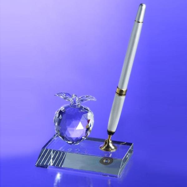 Award-Crystal Apple Pen Set w/ Silver Pen
