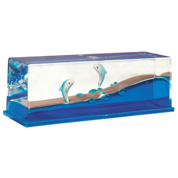 Liquid Wave Paperweight With Floating Dolphin Inserts Photo