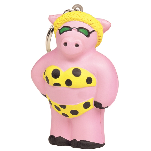 Squeezies (R) Cool Pig Keyring Stress Reliever