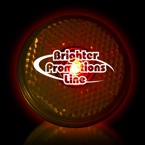 "Yellow 2"" Light Up Round Red Led Glow Safety Reflector Badge Photo"