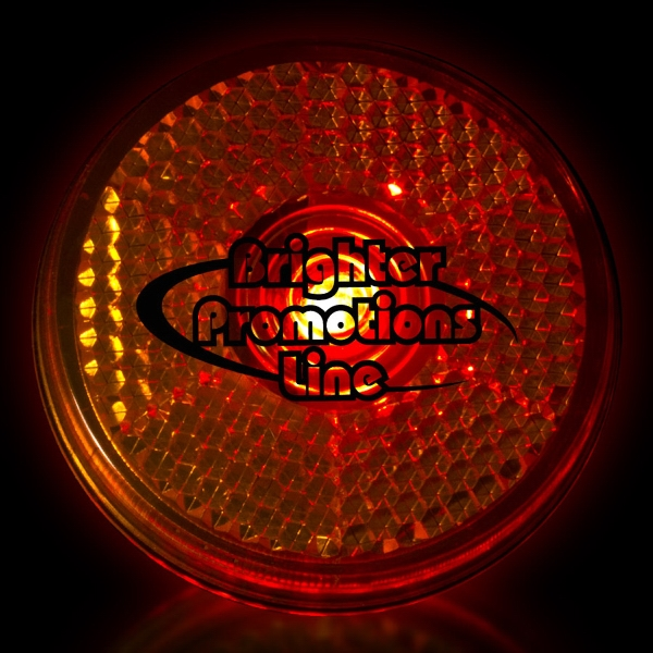 "Orange 2"" Light Up Round Red Led Safety Glow Reflector Badge Photo"