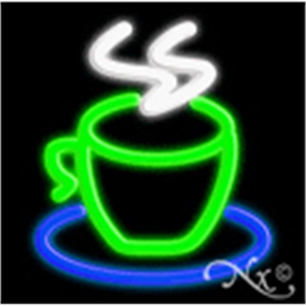 "Coffee Cup Logo Economic Neon Sign - Coffee cup logo economic neon sign, 17""x 17""x 3""."