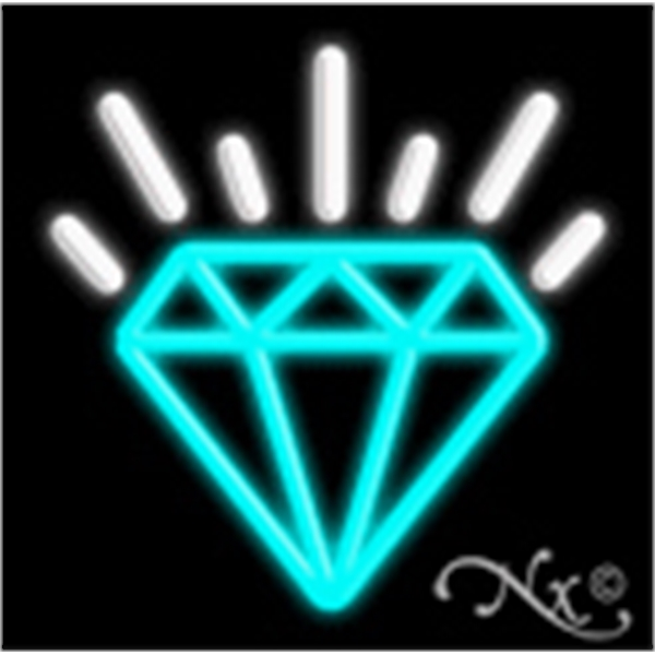 "Diamond Logo Economic Neon Sign - Diamond logo economic neon sign, 17""x 17""x 3""."