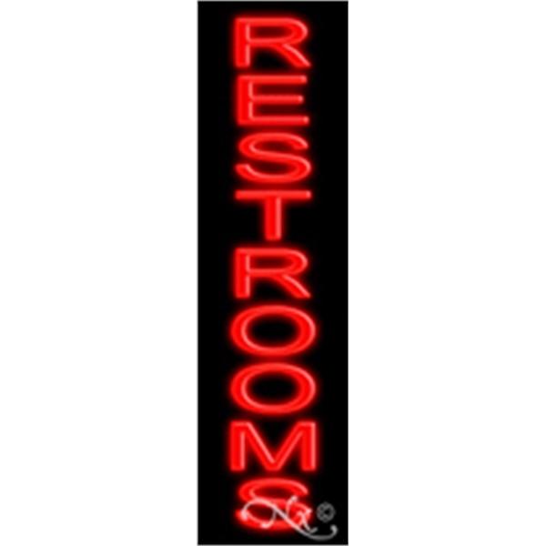 "Restrooms Economic Neon Sign - Restrooms economic neon sign, 29"" x 8"" x 3""."