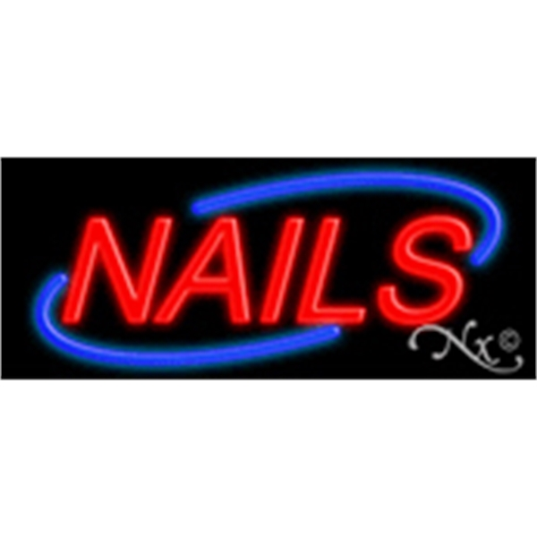 "Nails Economic Neon Sign - Nails economic neon sign, 10"" x 24"" x 3""."