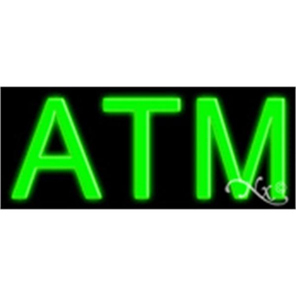 "ATM Economic Neon Sign - ATM economic neon sign, 10"" x 24"" x 3""."