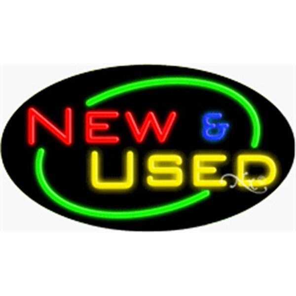"Flashing Neon Sign - Oval flashing neon sign, 17""x 30""x 3""."