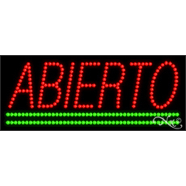 "Abierto LED Sign - Abierto LED sign, 11"" x 27"" x 1""."