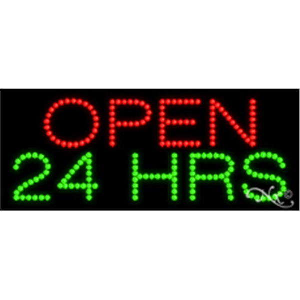 "Open 24 HRS LED Sign - Open 24 Hrs. LED sign, 11"" x 27"" x 1""."