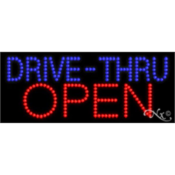"Drive-Thru Open LED Sign - Drive-Thru Open LED sign, 11"" x 27"" x 1""."