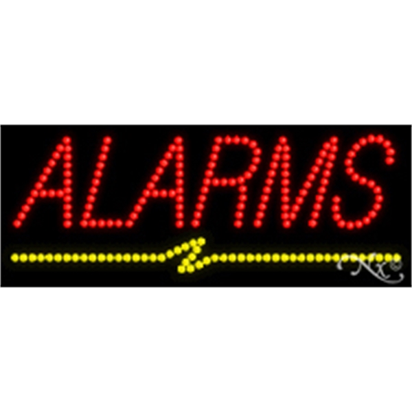 "Alarms LED Sign - Alarms LED sign, 11"" x 27"" x 1""."
