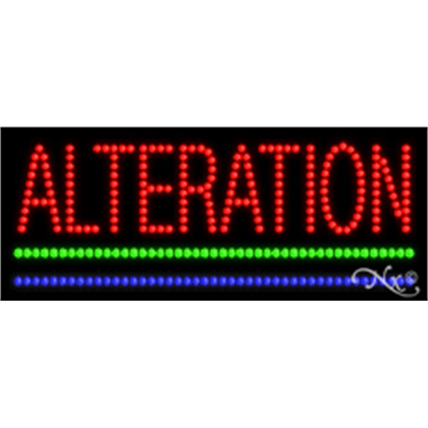 """Alteration LED Sign - Alteration LED sign, 11"""" x 27"""" x 1""""."""