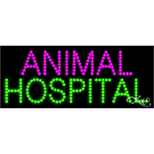"Animal Hospital LED Sign - Animal Hospital LED sign, 11"" x 27"" x 1""."