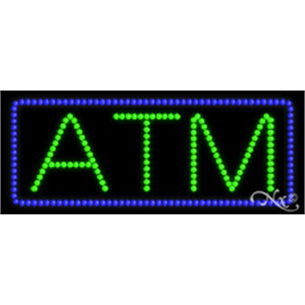 "ATM LED Sign - ATM LED sign, 11"" x 27"" x 1""."